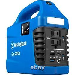 150-Watt/300-Watt Lithium-Ion Portable Power Station with Power Inverter, LCD Di