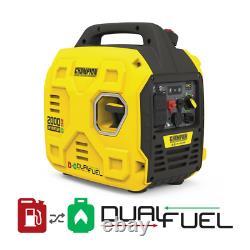 2000-Watt Portable Dual Fuel Gas and Propane Recoil Start Inverter Generator wit