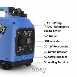 NEW Quiet Inverter Generator Portable 1250 Watts Peak LCD Gas Powered EPA CARB