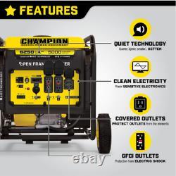 Champion 6250 Watt Générateur D'onduleur Gaz Portable 110v / 240v Silencieux Kit De Roue
