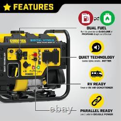 Dh 4000-watt Recoil Démarrer Dual Carburant Powered Open Frame Inverter Générateur Avec 2