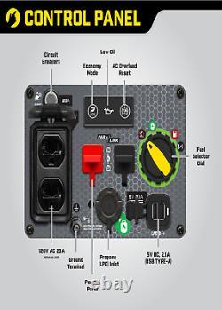 Générateur De Double Onduleur De Carburant Portable Ultralight 2500 Watt Gaz Propane Alimenté