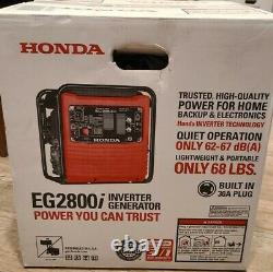 Honda Eg2800i 2800 Watt Inverter Generator Light Quiet, Tout Nouveau Dans La Boîte