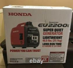 Honda Eu2200i Generator Inverter Super Silencieux 2200 Watts 120v Portable Eu 2200i W