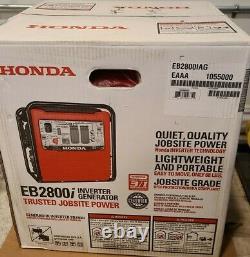 Nouveau Honda Eb2800i 2800 Watts Générateur Flambant Neuf Dans La Boîte. 4 Points De Vente! Calme